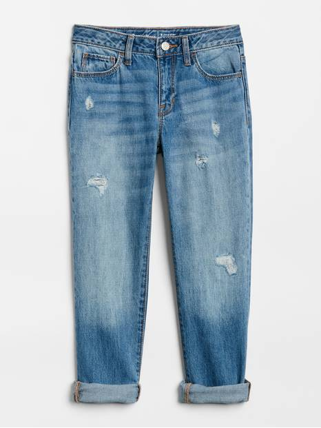 Kids Destructed Girlfriend Jeans