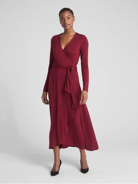 Long Sleeve Knit Wrap Midi Dress