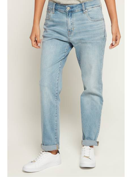 Soft Wear Mid Rise Girlfriend Jeans