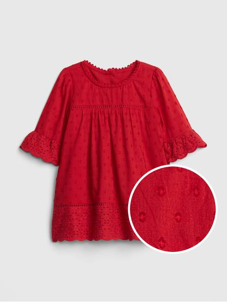 Baby Eyelet Bell-Sleeve Dress