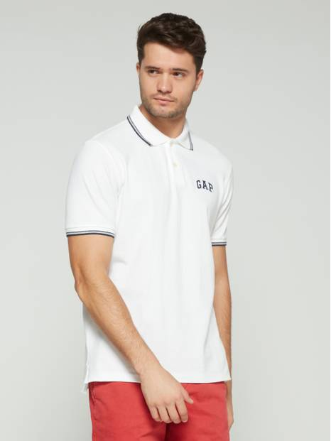 Logo Pique Polo Shirt in Stretch