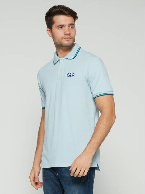Stripe Trim Embroidered Logo Pique Polo Shirt