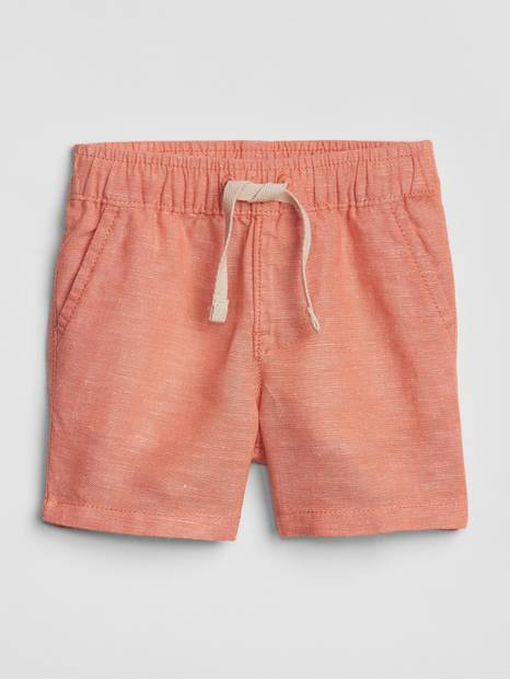 Baby Pull-On Shorts In Linen