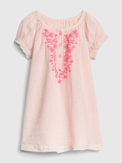 Baby Embroidered Puff-Sleeve Dress