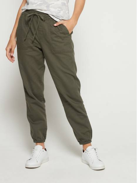 Drawstring-Fastened Utility Joggers
