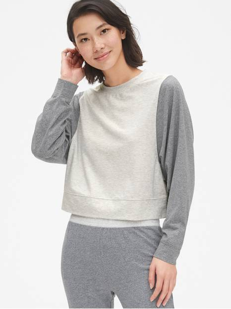 Crop Colorblock Pullover Sweatshirt