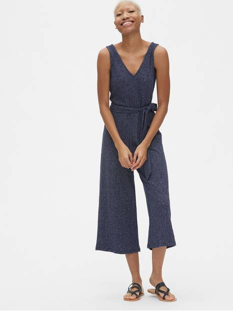 Sleeveless Ribbed Knit V-Neck Jumpsuit