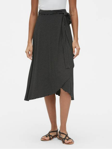 Knit Wrap Tie-Belt Midi Skirt