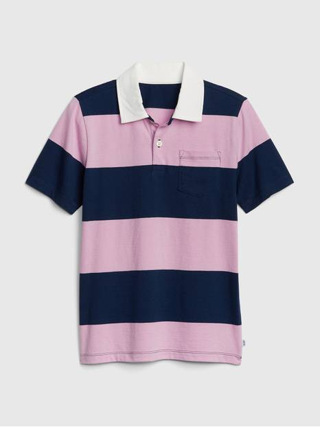 Kids Stripe Short Sleeve Polo Shirt