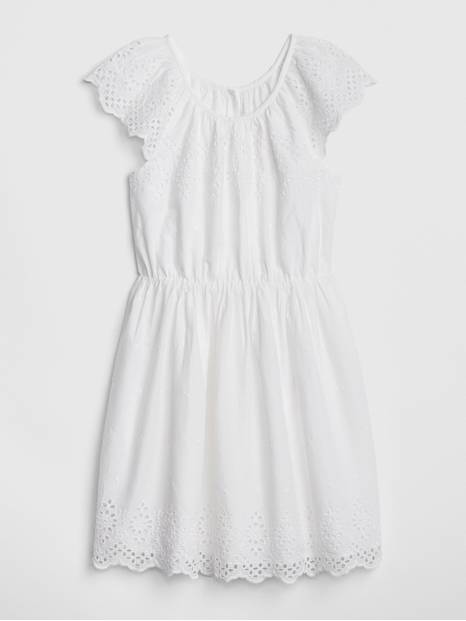 Kids Eyelet Flutter Dress