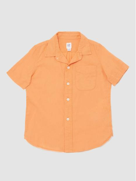 Kids Short Sleeve Shirt In Linen-Cotton