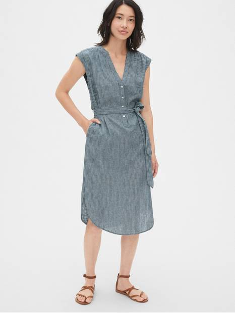 Stripe Popover Cap Sleeve Shirtdress in Linen-Cotton