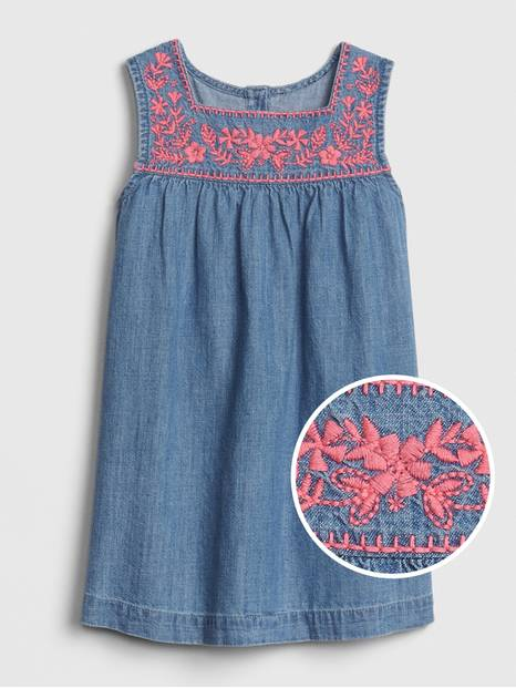 Toddler Embroidered Denim Dress