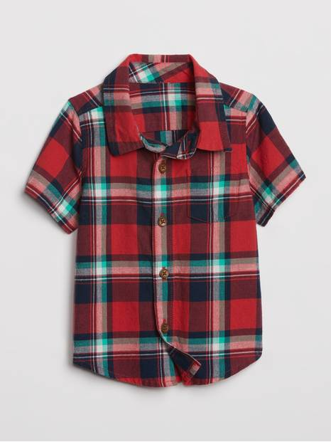 Baby Plaid Short Sleeve Shirt