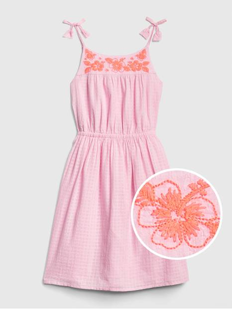 Kids Embroidered Tassel Fit and Flare Dress