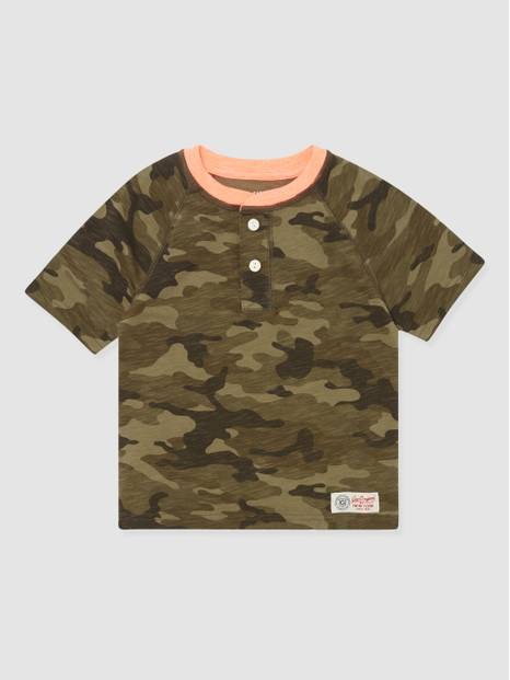 Kids Camouflage Henley T-Shirt
