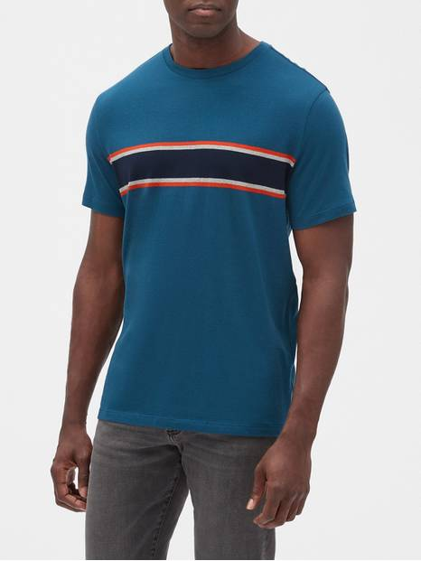Stripe Short Sleeve Crewneck T-Shirt