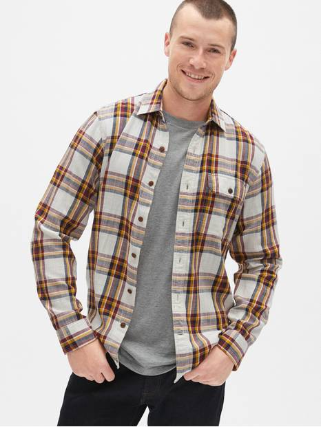 Slub Plaid Flannel Shirt in Standard Fit