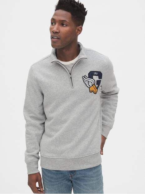 Gap Athletic Logo Quarter-Zip Mockneck Sweatshirt