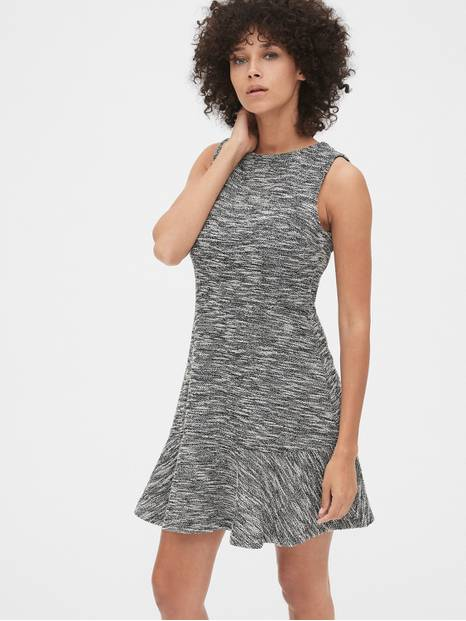Sleeveless Fit and Flare Dress in Boucle