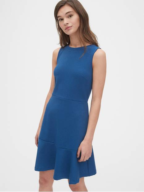 Fit and Flare Flutter Dress in Ponte