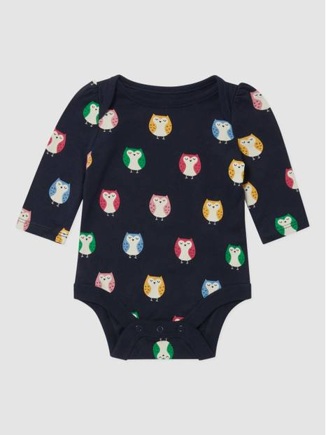 BabyGap Long Sleeve Owl Graphic Bodysuit
