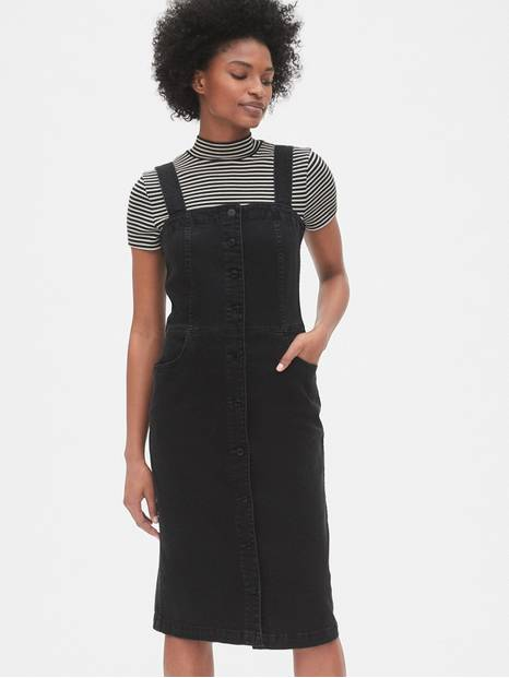 Apron Button-Front Denim Dress