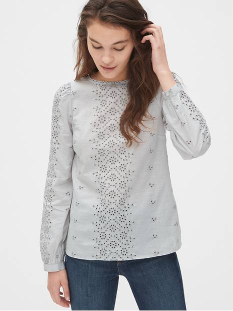 Eyelet Embroidered Blouse
