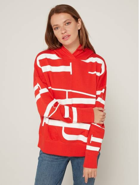 Fleece All-Over Oversize Logo Pullover Hoodie