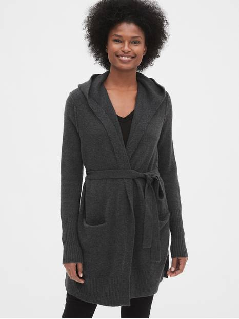 Boucle Longline Hooded Cardigan Sweater