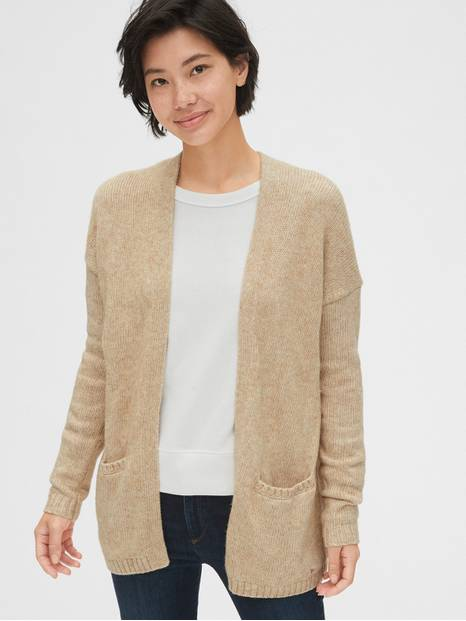 Marled Open-Front Cardigan Sweater