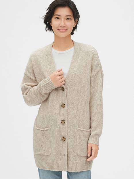 Wool-Blend Button-Front Cardigan Sweater