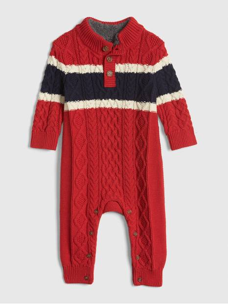 Baby Cable-Knit Mockneck One-Piece