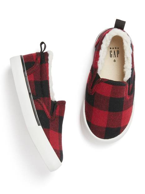 Toddler Sherpa-Lined Flannel Slip-On Sneakers