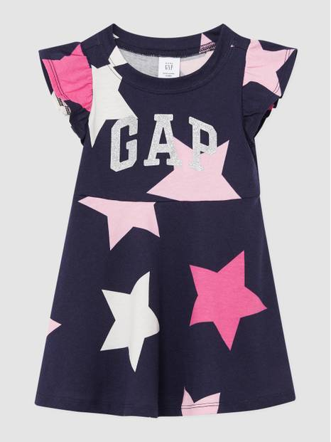 Toddler Gap Glitter Logo Printed Shirt Sleeve Dress