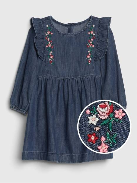 Toddler Embroidered Ruffle Dress