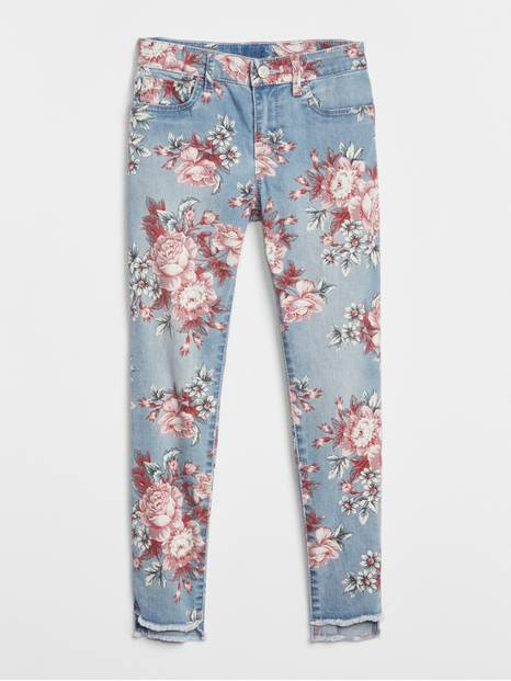 Kids Step-Hem Floral Jeggings with Fantastiflex