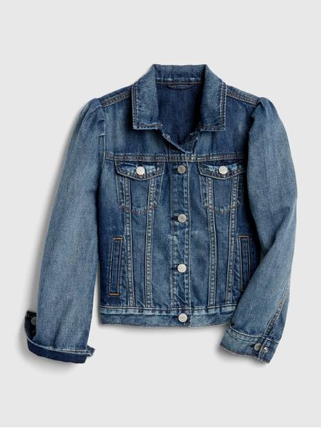 Kids Puff-Sleeve Denim Jacket