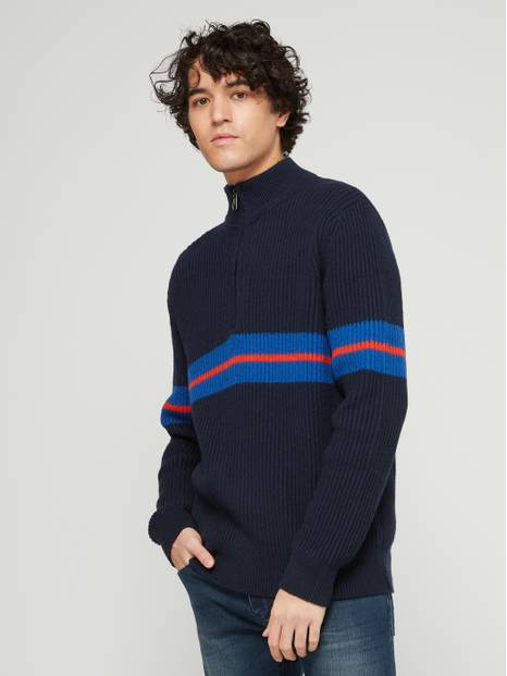 Chest Stripe Half-Zip Sweater