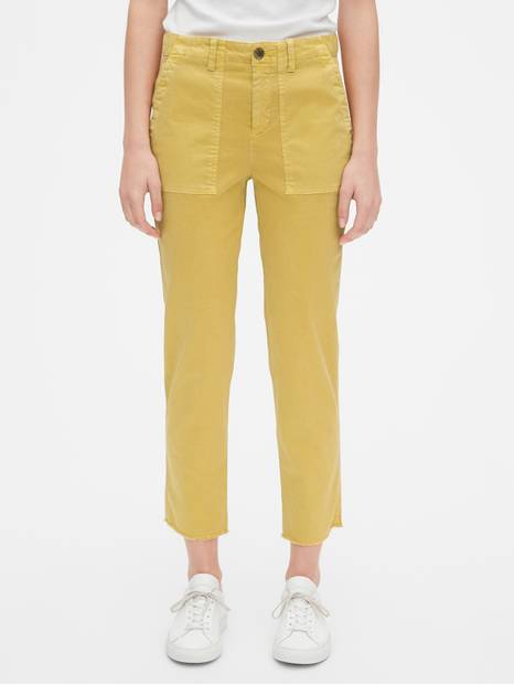 Girlfriend Utility Chinos with Raw Hem