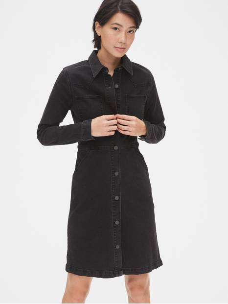Denim Western Button-Front Shirtdress