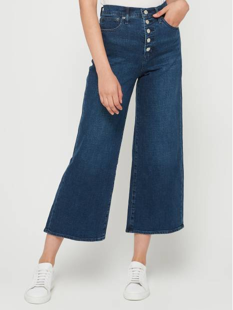 High Rise Wide-Leg Button-Front Jeans