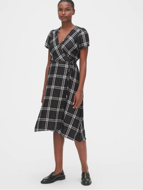 Plaid Midi Wrap Dress