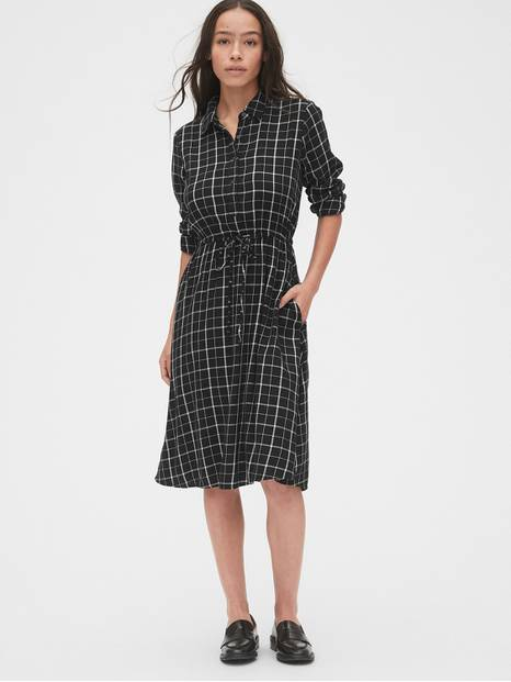 Plaid Tie-Waist Shirtdress