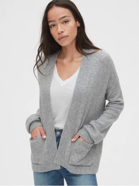 Relaxed Open-Front Cardigan Sweater