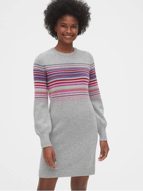 Wool-Blend Crazy Stripe Sweater Dress