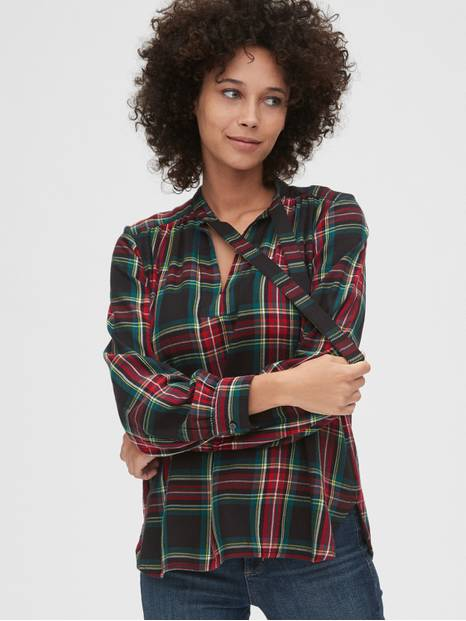 Plaid Tie-Neck Blouse