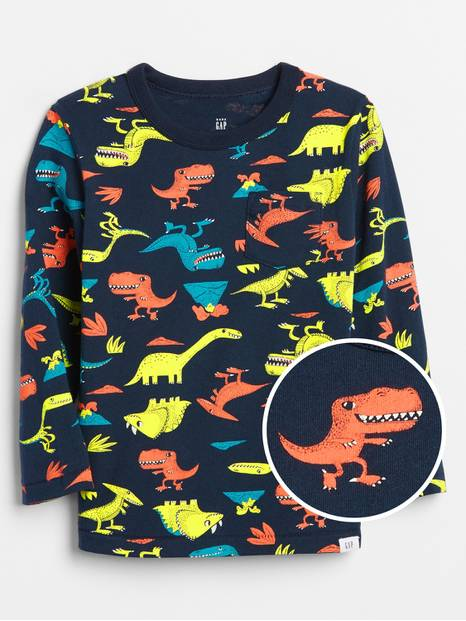 Toddler Print Long-Sleeve Pocket T-Shirt
