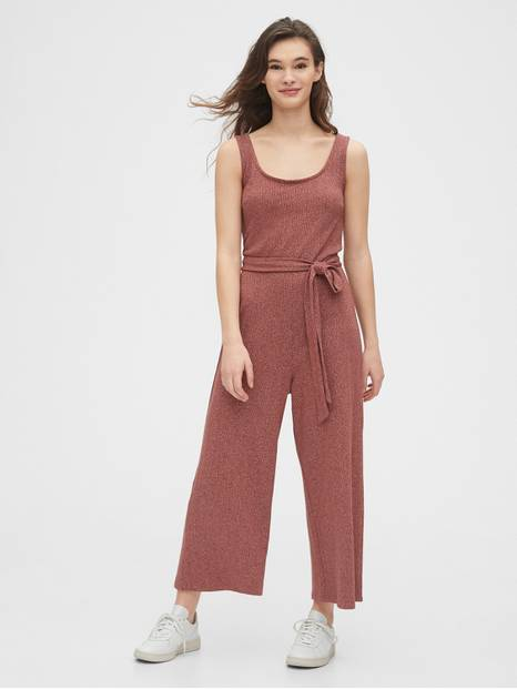 Ribbed Belt-Tie Jumpsuit
