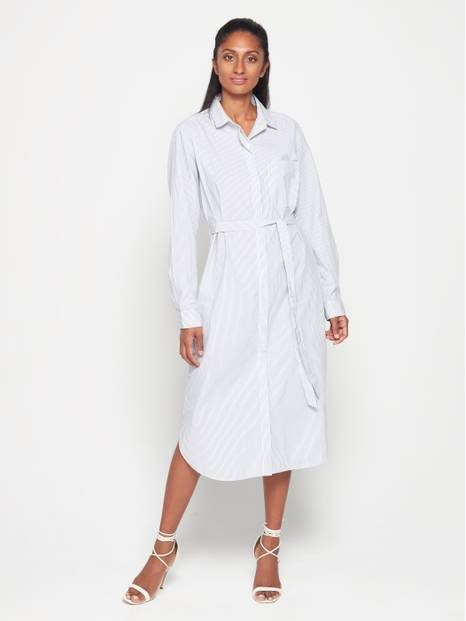 Tie-Waist Long Sleeve Striped Shirtdress